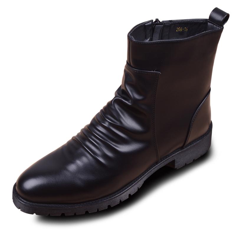英伦时尚高帮拉链尖头马丁靴子潮流男鞋增高短靴休闲皮鞋男士皮靴