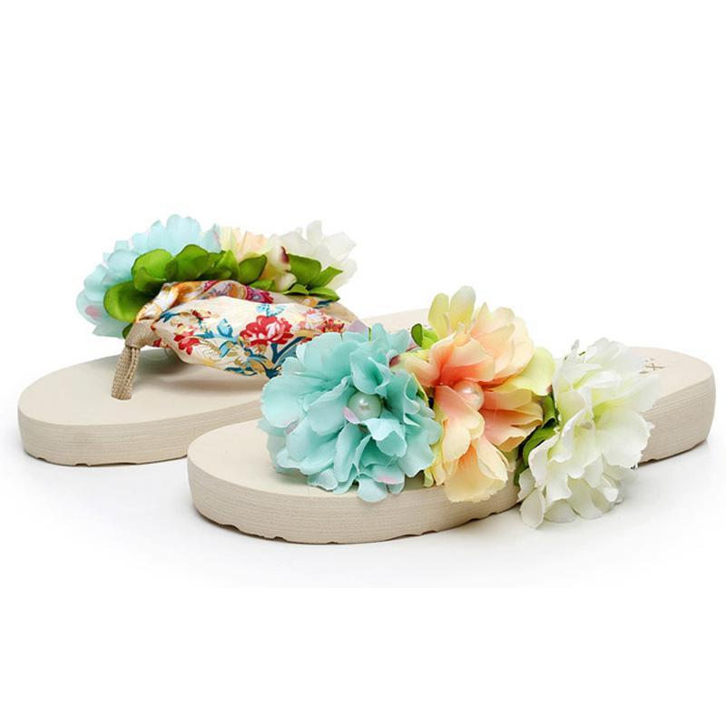 儿童拖鞋夏季女童夹脚拖鞋小孩带花人字拖亲子母女沙滩鞋波西米亚
