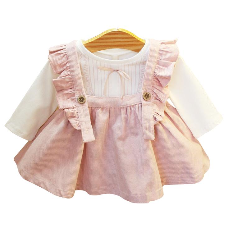 女童2件套背带裙2019春小童装女宝宝连衣裙婴幼儿长袖连衣裙衣服