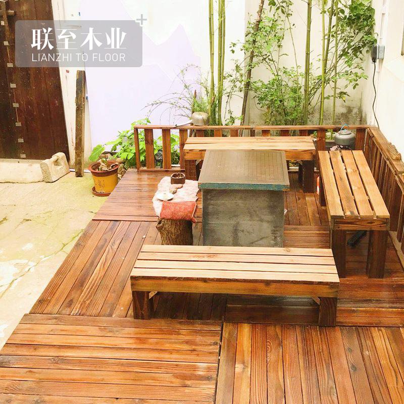 碳化木防腐木户外地板庭院花园走廊台阶木屋凉亭龙骨木条板材