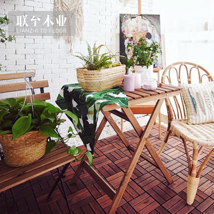 阳台可移动拼装纯实木地板户外防腐木地板贴重蚁木露台防水地板垫