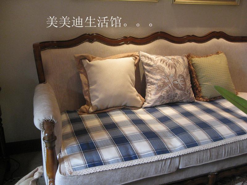 高檔沙發墊布藝坐墊加厚沙發套沙發巾靠背巾l藍色格子地中海風情