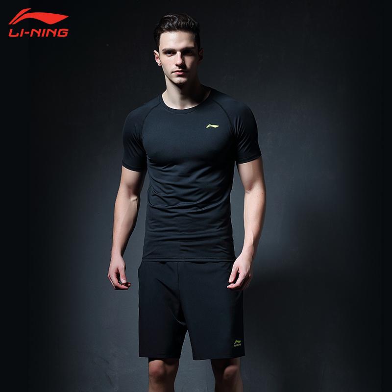 李宁运动健身套装男跑步速干衣健身房训练服短袖夜跑服紧身衣四季