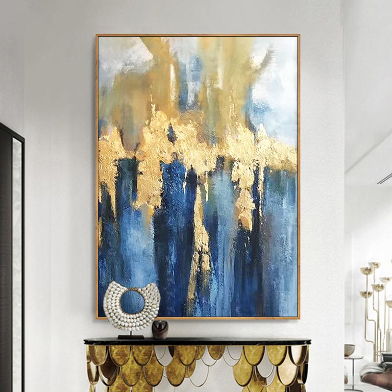 手绘抽象油画客厅现代简约轻奢抽象画风美式北欧单联大幅装饰画
