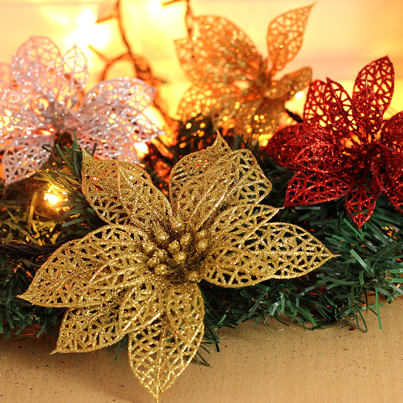 Artificial Christmas Flowers.Buy 13cm Golden Powder Powder Christmas Flowers Flowers