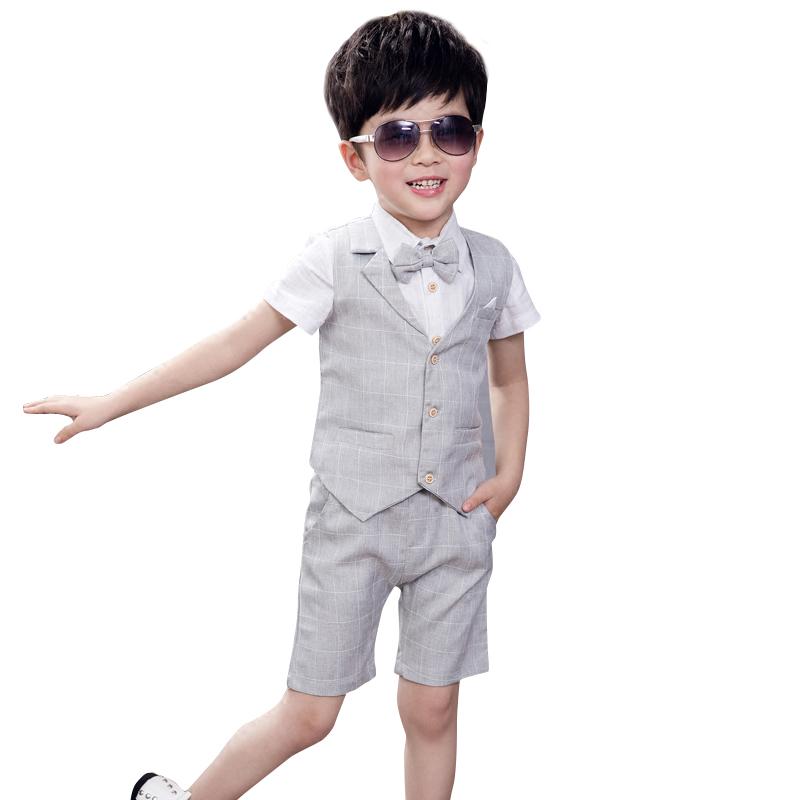 儿童晚礼服套装夏季英伦小花童婚礼韩版西装钢琴主持人演出男童装