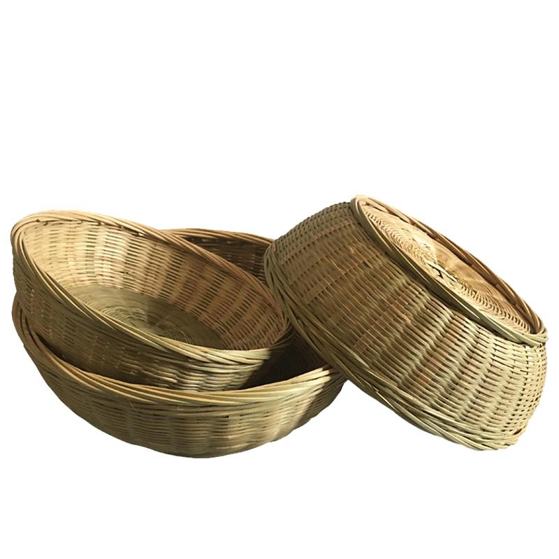 纯手工竹筐竹编家用收纳筐小竹篮工艺品水果篮馒头筐点心篮竹制品
