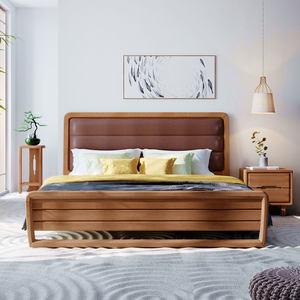 【自营】林氏木业新中式实木床1.5m软包双人床白蜡木卧室家具BQ3A