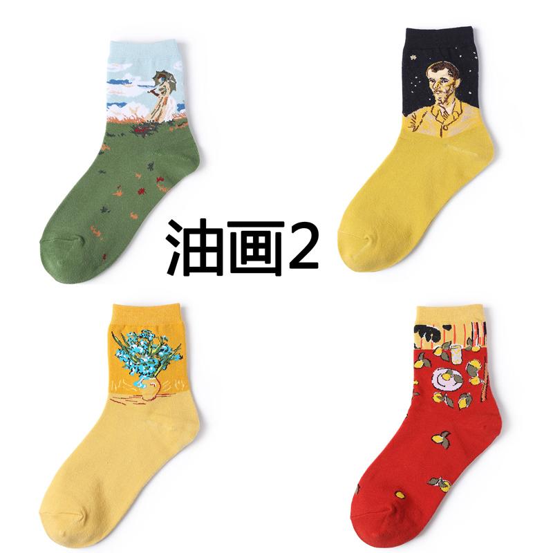 袜子女生中筒袜街头潮流欧美个性中袜春秋季韩国卡通油画纯棉长袜