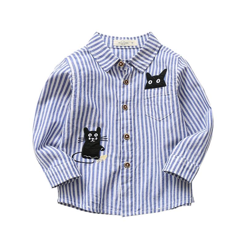 男童衬衫长袖纯棉春秋童装韩版新款小童宝宝条纹上衣儿童衬衣秋装