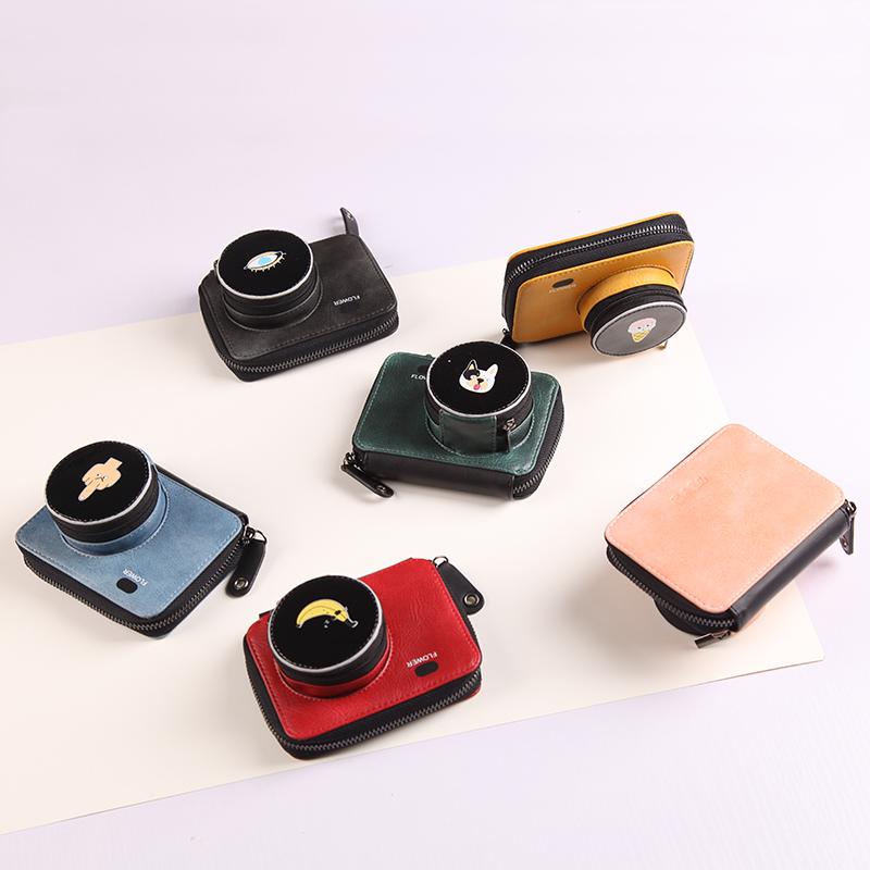 八涂原创设计个性相机零钱包2019新款印花PU日韩风格学生实用卡包