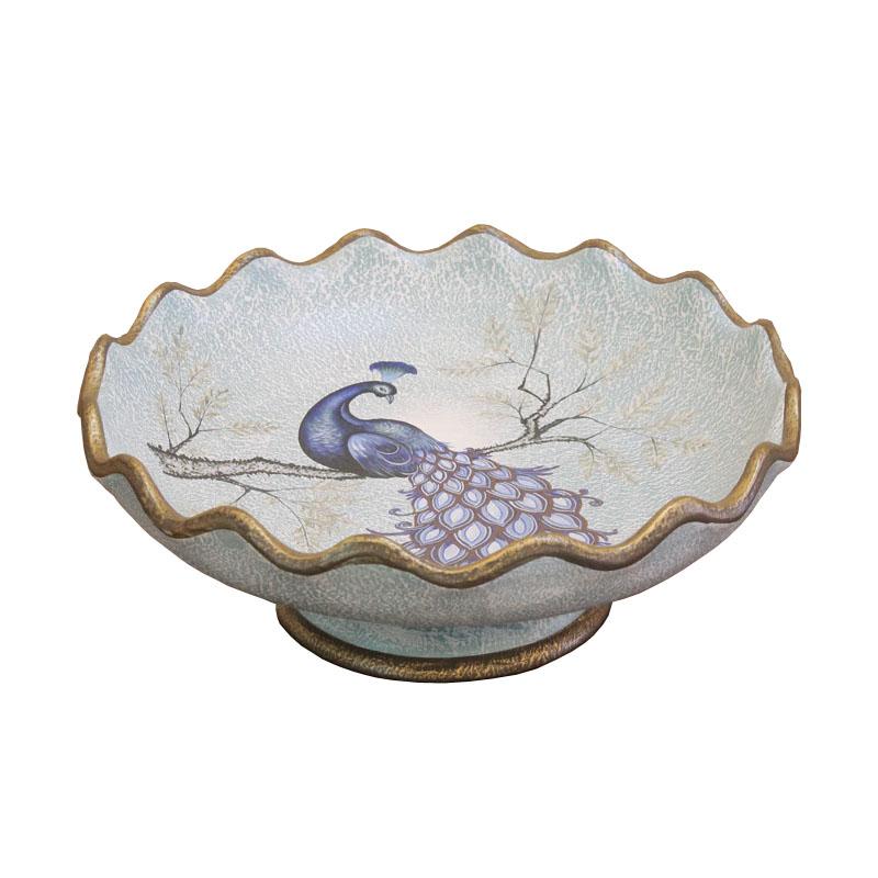 欧式复古圆果盘 简约时尚创意果盘 美式田园新中式陶瓷水果盘摆件