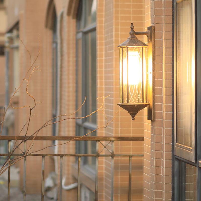 露台复古壁灯 LED 大门壁灯户外防水中式庭院阳台壁灯花园别墅过道