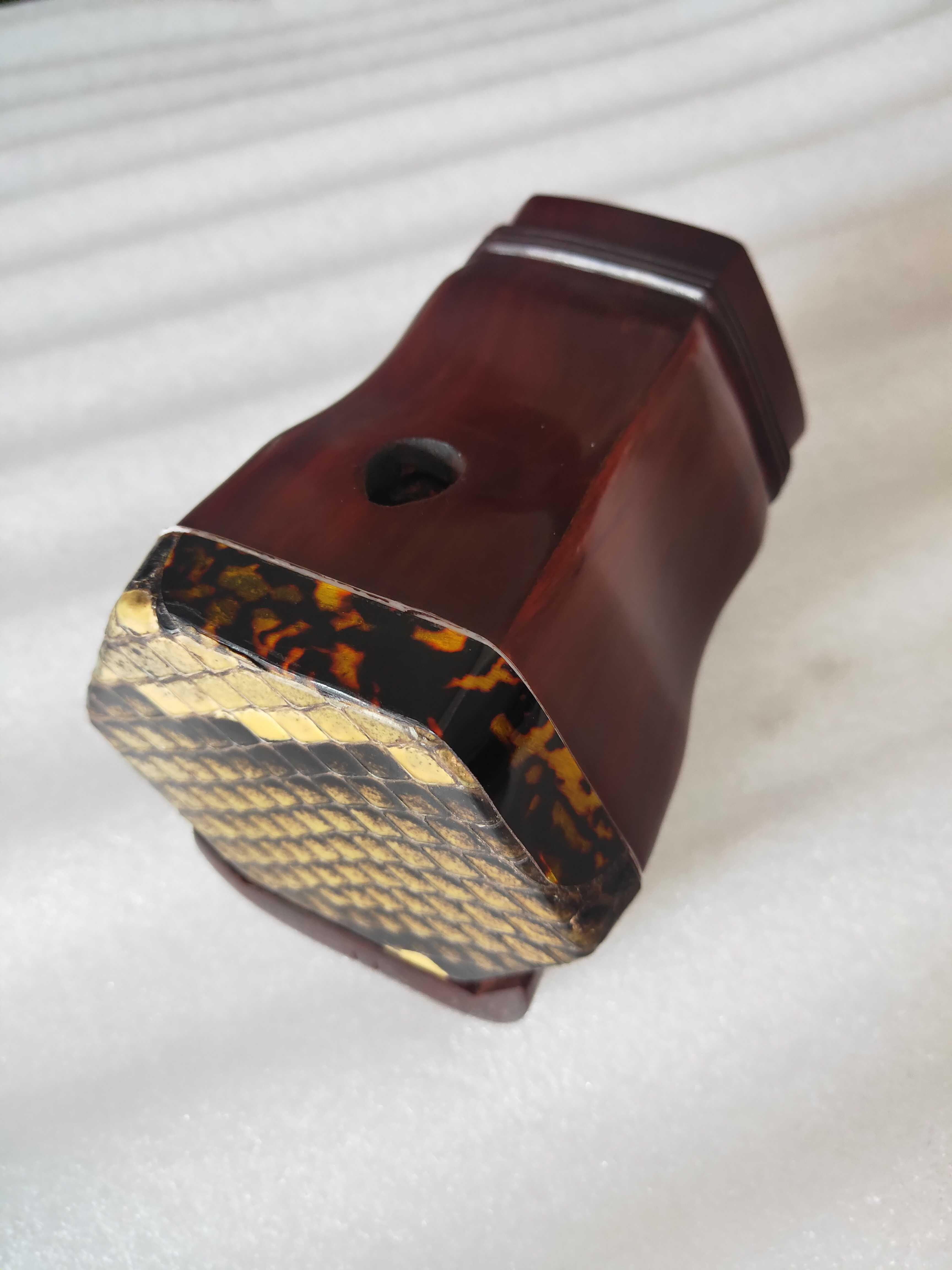 可选皮 紫檀蒙皮六角桶扁孔原木抛光带底座实木音窗 二胡乐器琴桶