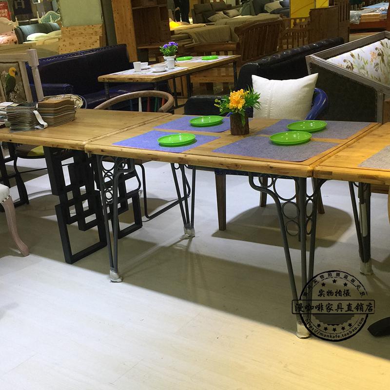 音乐餐厅家具桌椅酒吧咖啡厅餐台实木拉丝复古做旧美式简约餐桌