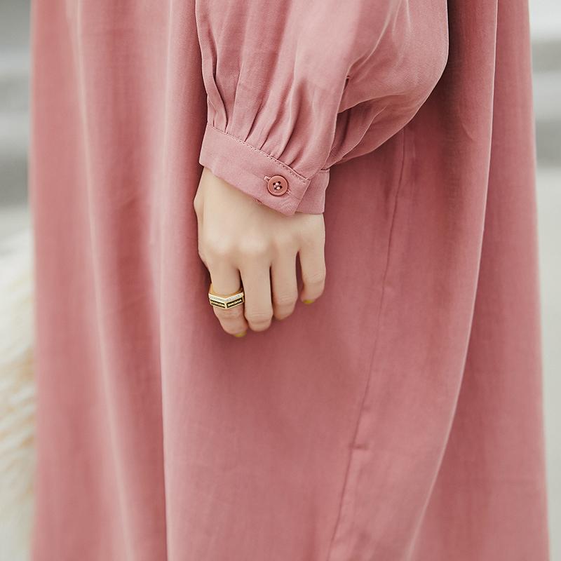 薇语大码女装甜美连衣裙2019春季新款开衩V领中长款宽松可爱裙子