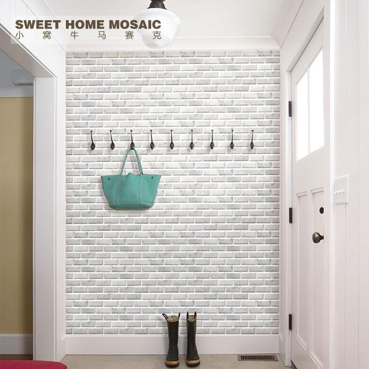 石材马赛克天然大理石卡拉拉白色背景墙工字砖倒边磨边厨房卫生间