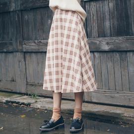 格子裙半身裙女冬天配毛衣高腰中长款秋冬洋气小个子遮胯裙子显瘦