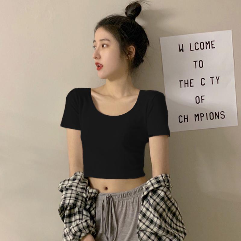 黑色短款t恤女短袖ins潮露脐上衣紧身纯棉夏季高腰漏肚脐半袖体恤主图