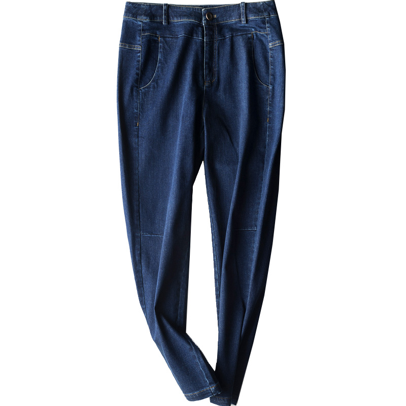 新款大码中年裤子直筒高腰显瘦九分裤宽松小脚裤 2019 牛仔裤女春季