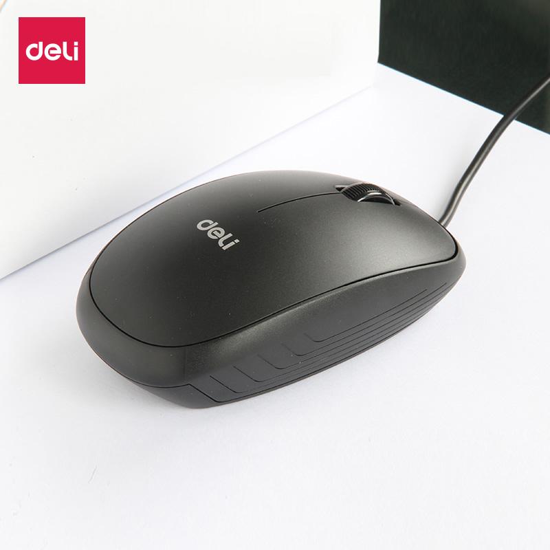 得力滑鼠3715高精度光學 辦公筆記本有線usb滑鼠 移動