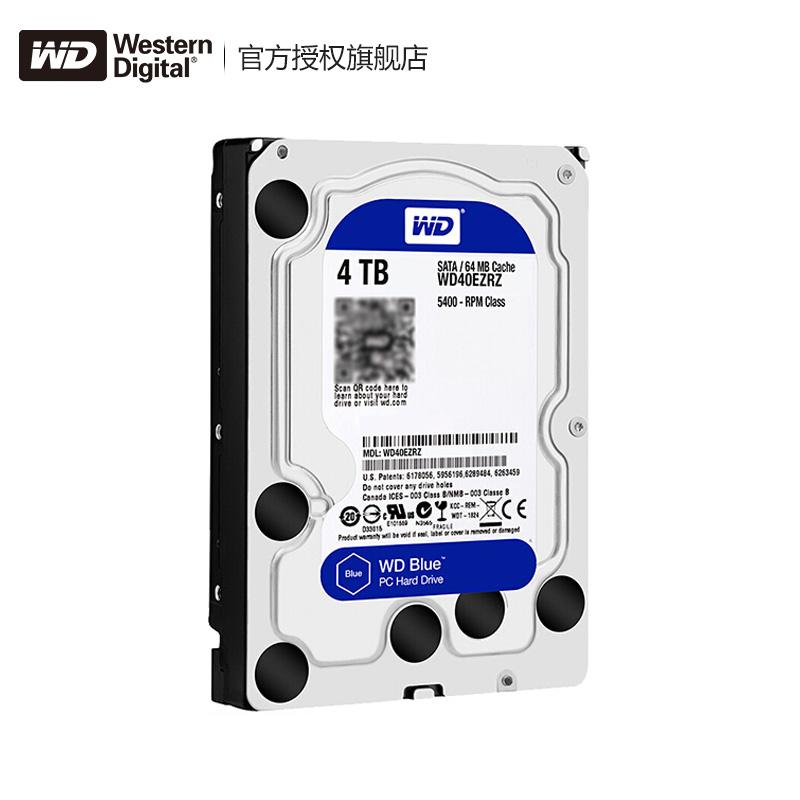 WD/西部数据 WD40EZRZ 台式机电脑4TB机械硬盘 西数蓝盘 监控紫盘