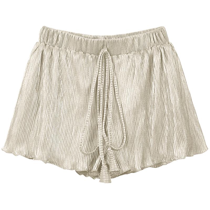 弥古沙滩裤波西米亚阔腿裤银色百褶海边度假短裤2019新款夏女外穿