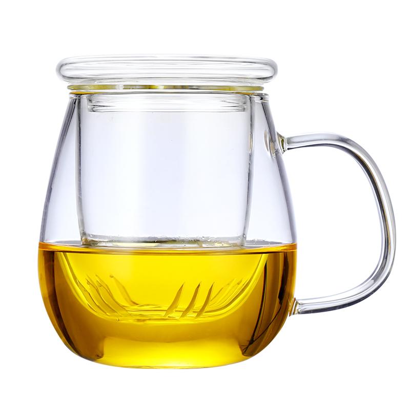 耐热玻璃花茶杯透明家用水杯子带把盖加厚茶水分离办公过滤泡茶杯