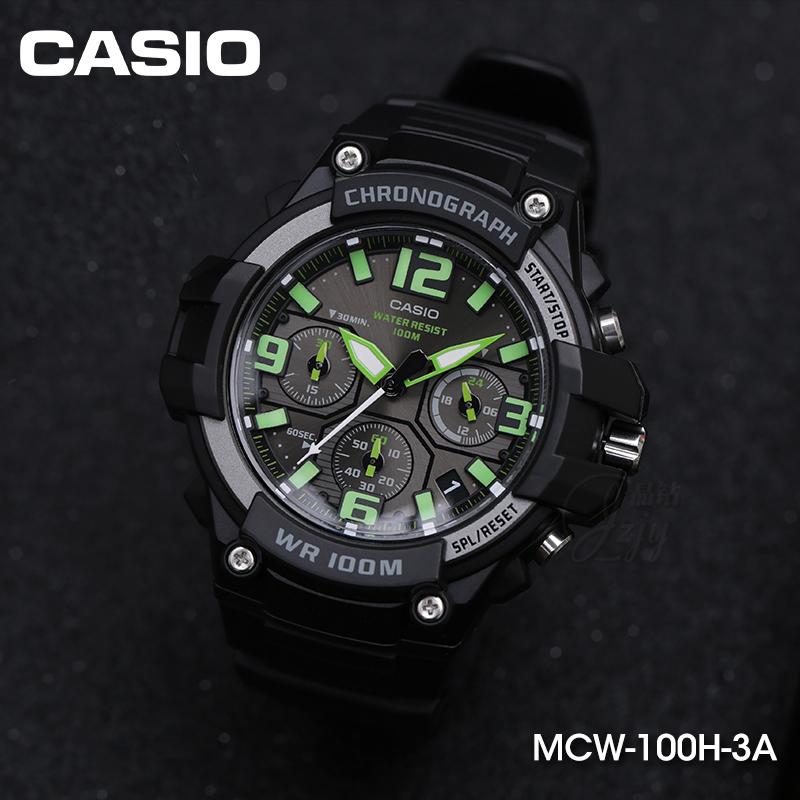 正品 100H MCW 卡西欧手表男士夜光防水多功能运动学生石英表 casio