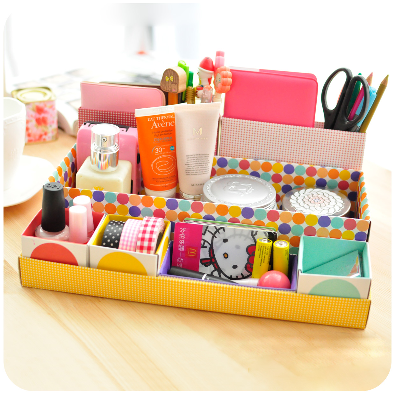 韓版創意辦公文具桌面收納盒紙質 化妝品收納盒 多功能桌面雜物盒