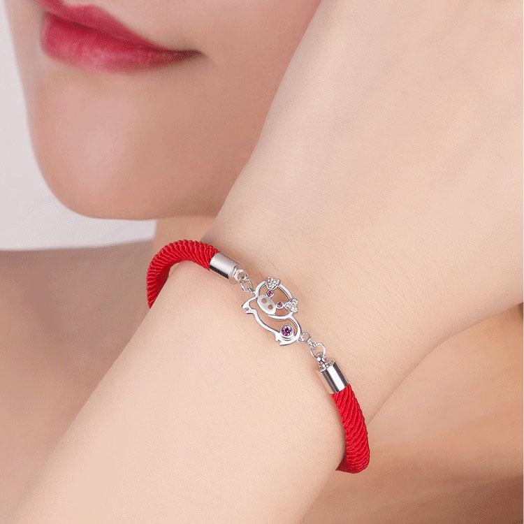 【第二条半价】猪年手链本命年红手绳情侣幸运手链送女友礼物