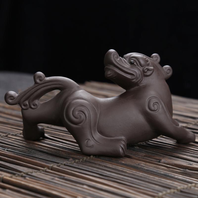 包邮招财茶宠 精品紫砂 回头貔貅汝窑茶具 配件茶玩 金蟾摆件特价