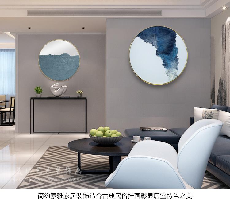 手繪油畫簡約現代客廳圓形裝飾畫書房黑色厚肌理裝置玄關手工掛畫