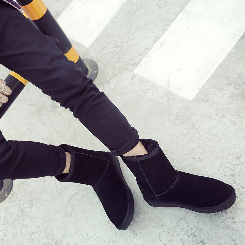 冬季加绒牛皮男士中筒雪地靴男款面包鞋真皮防滑休闲保暖棉鞋