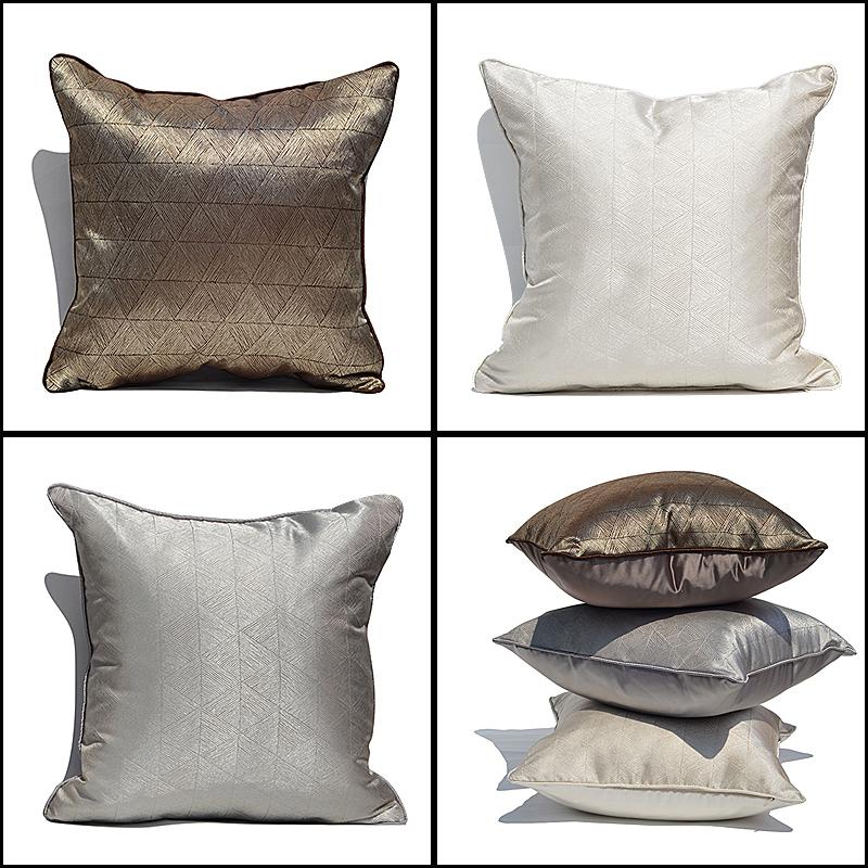 沙发抱枕定制现代中式床头简约客厅腰枕样板间大靠枕座椅靠垫枕套