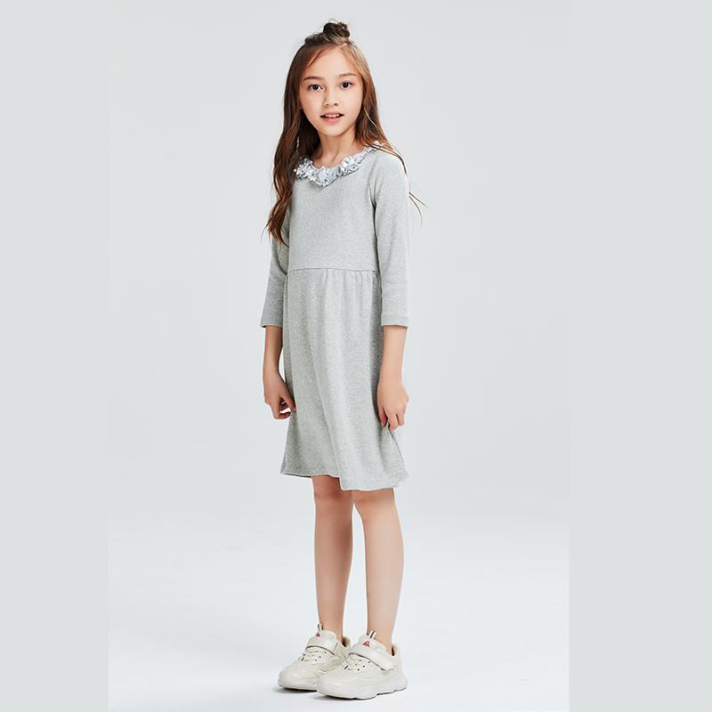 夏季新款女童中袖连衣裙中大童小童淑女裙纯棉礼服裙优雅长裙 2019