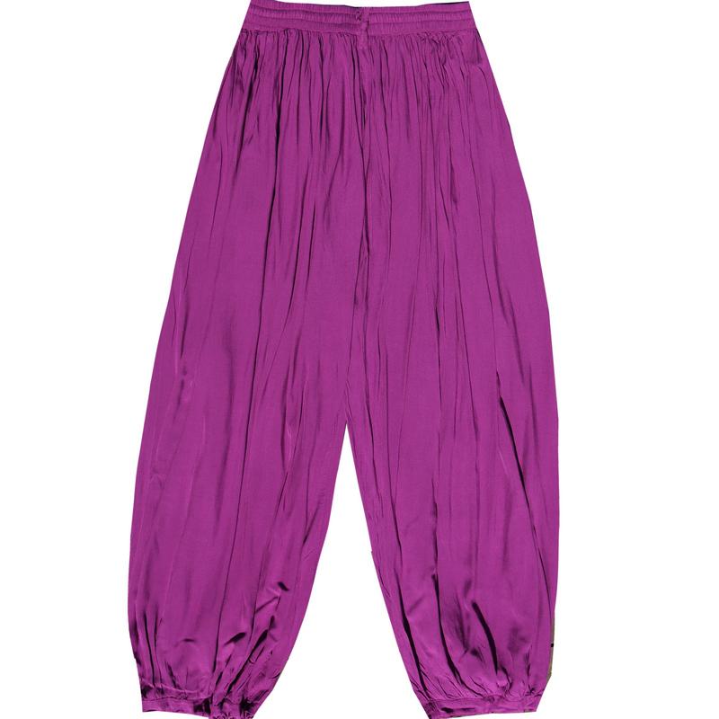 绵绸灯笼裤女夏 印度宽松褶皱瑜伽裤女裤纯色阔腿裤 大腿围休闲裤