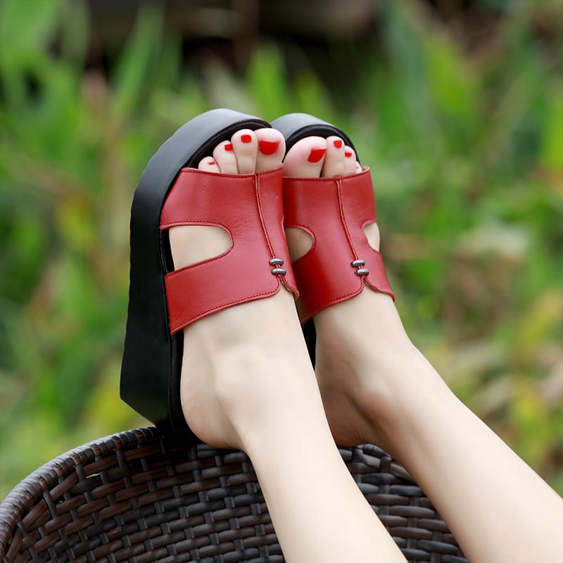 2019夏外穿坡跟真皮拖鞋女时尚高跟防水台凉拖女厚底松糕跟一字拖