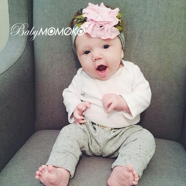 粉色日本嬰幼兒童髮帶頭花朵純棉0-3歲女寶寶護囟門公主寬版頭飾