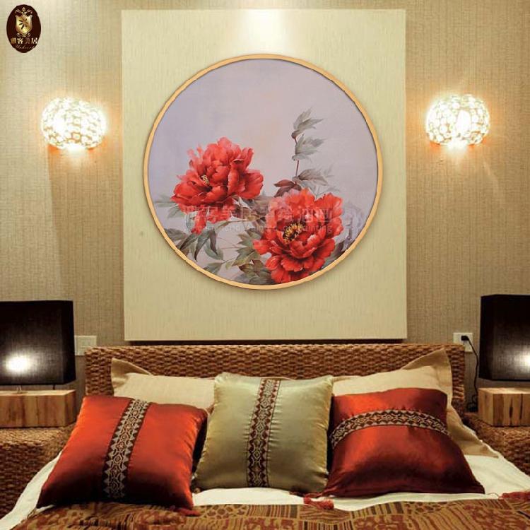 富贵牡丹花卉手绘油画粉红喜庆唯美装饰挂画玄关客餐厅卧室圆形画