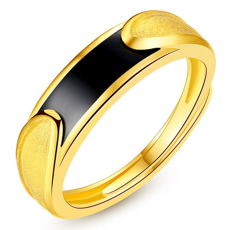 黄金戒指 情侣戒一对结婚足金宝石对戒金镶玉活开口女款男士尾戒