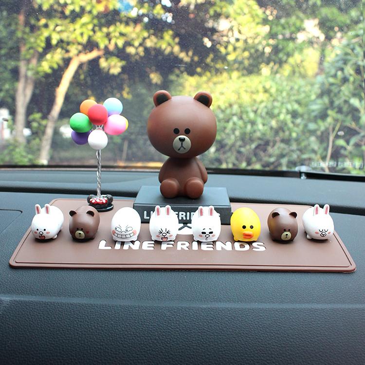 韩国line布朗熊可妮兔公仔汽车摆件可爱车载摇头创意车内装饰用品