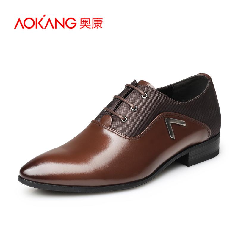 奥康男鞋男士商务英伦真皮正品系带尖头正装皮鞋婚鞋绅士伴郎皮鞋