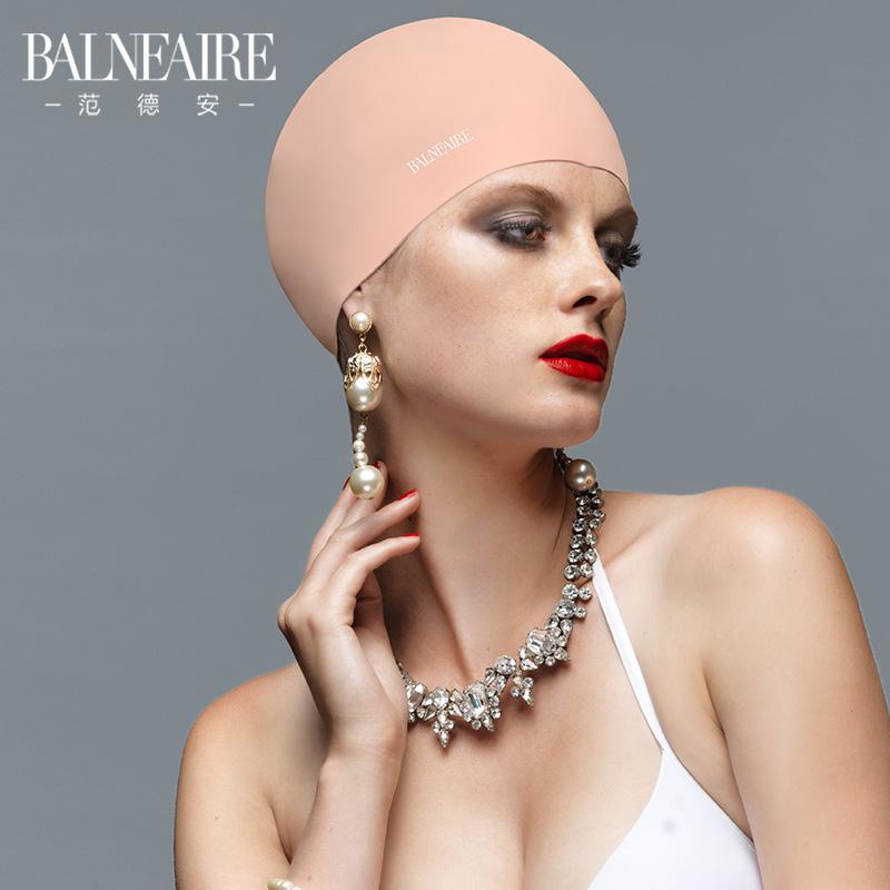 范德安泳帽女硅胶防水不勒头长发女士时尚护耳成人女士游泳帽大号