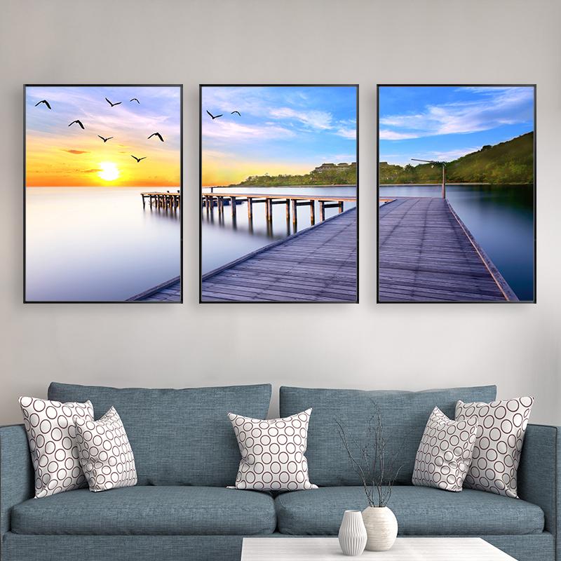 客廳裝飾畫現代簡約風景三聯畫餐廳壁畫北歐掛畫沙發背景牆海景