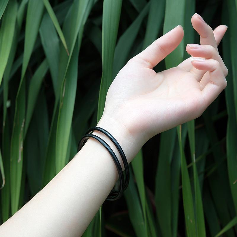 源以笙天然纯黑色玛瑙叮当镯玉髓古风极细手镯子细条款学生禁步环