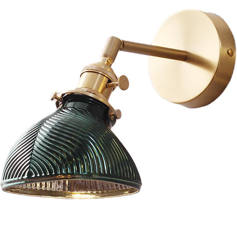 复古墨绿叶纹祖母绿黄铜玻璃卧室书房客厅床头北欧镜前壁灯 FLYLA