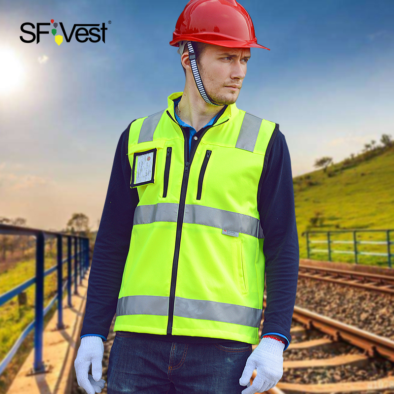 SFVest反光背心3m有领马甲交通路政反光衣骑行安全服夜跑防护衣服
