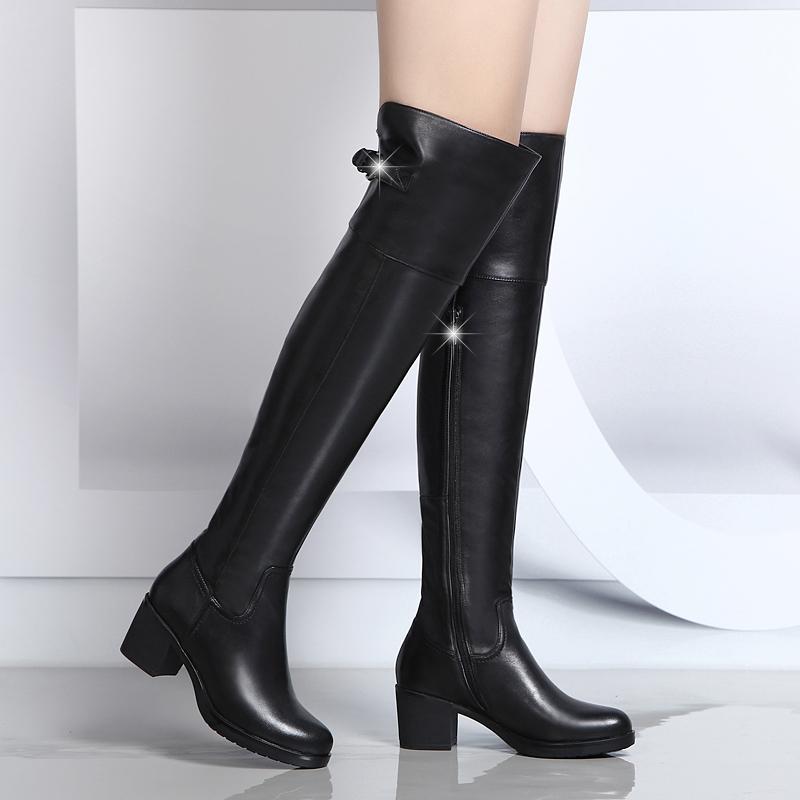 2018冬季新款哈森贝拉真皮过膝长靴女中跟高筒靴粗跟牛皮舒适女靴