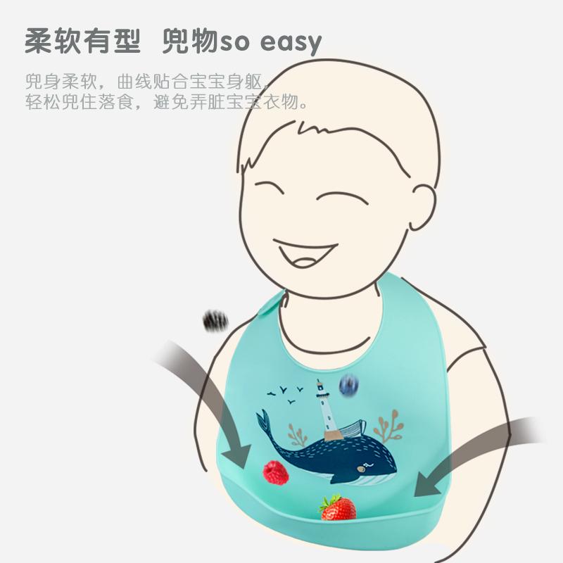 硅胶婴儿宝宝吃饭围兜立体防水超软食饭兜儿童小孩大号口水兜免洗